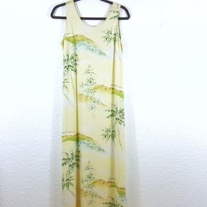 Tommy Bahama Silk Maxi Dress Womens Medium Yellow
